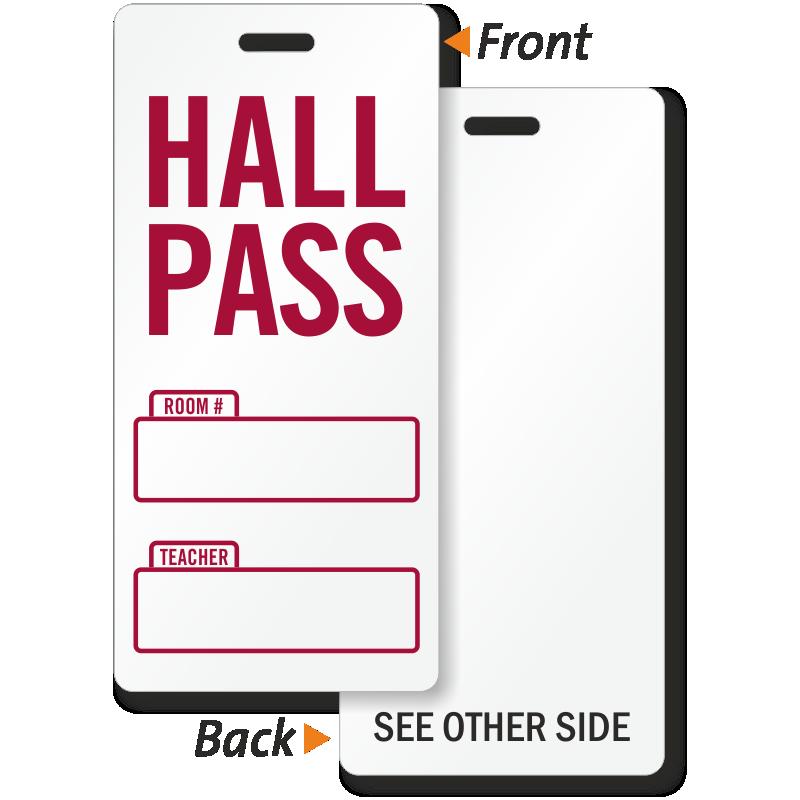School Hall Pass BackPack Tag - Student Hall Pass, SKU - BD-0674