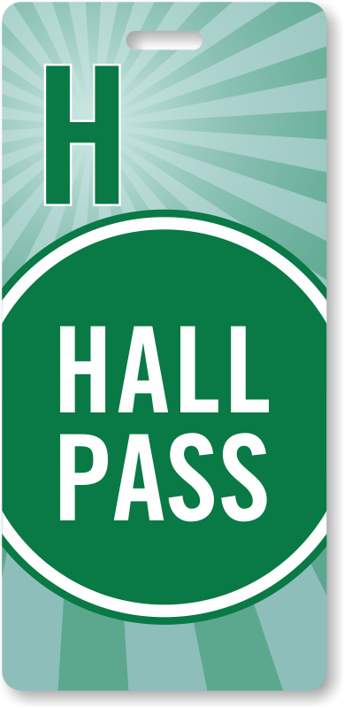 hall pass backpack tag  burgundy stripes design  sku
