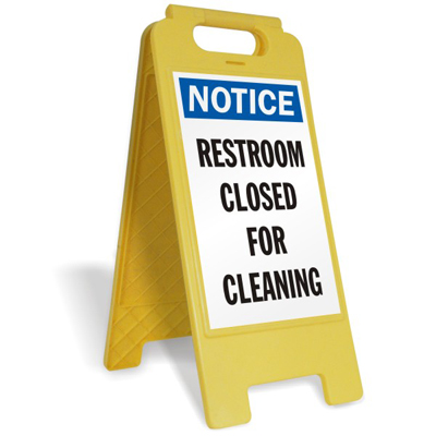Mens womens bathroom signs - Notice Restroom Closed For Cleaning Fold Ups 174 Floor Sign