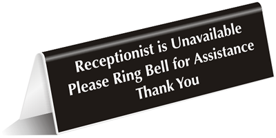 Ring Bell For Assistance Desk Sign