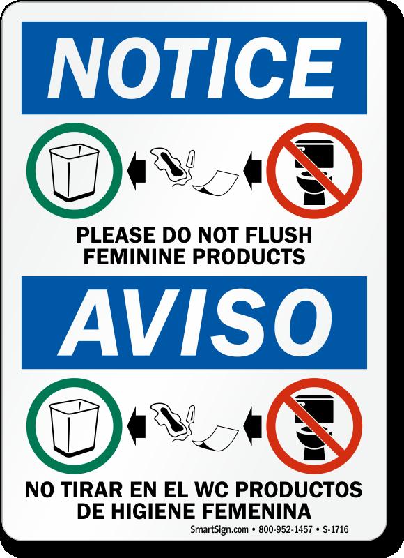 Please Do Not Flush Feminine Products Notice Bilingual Sign Sku S 1716