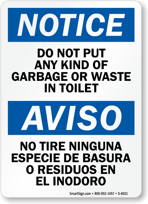 Bilingual Do Not Put Garbage Or Waste In Toilet Sign Sku