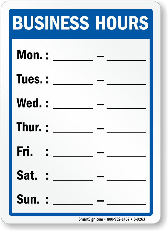 0 hours contract template - business hours signs