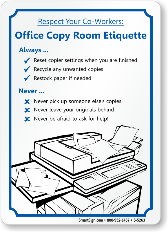 Office Courtesy Signs Office Etiquette Signs