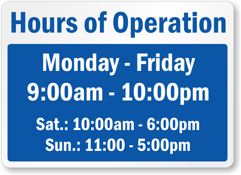Business hours signs for Hours of operation template microsoft word