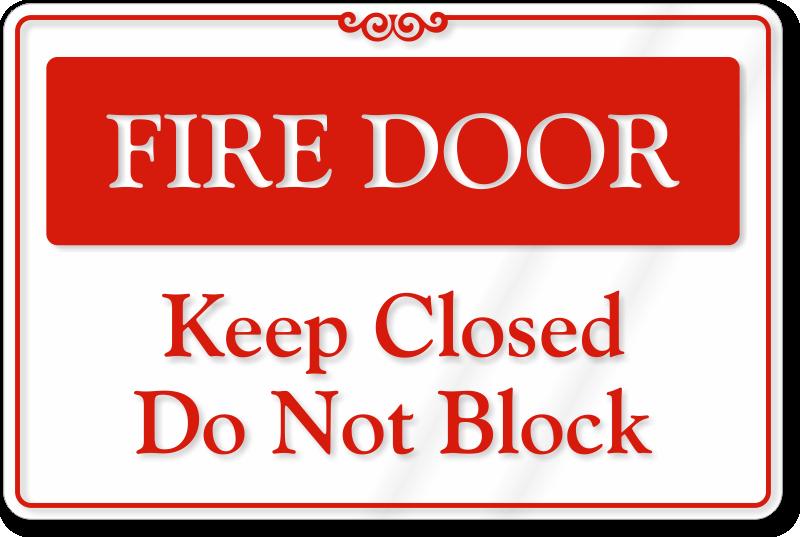 Fire Door Signs : Fire door do not block sign