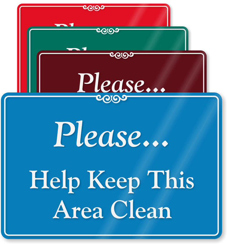 Kitchen Courtesy Signs: Please, Help Keep This Area Clean