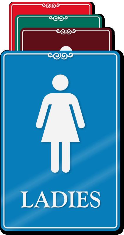 Ladies restroom showcase wall sign for Ladies bathroom sign