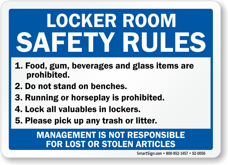 Locker room safety rules management not responsible sign