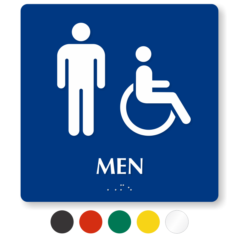 Men And Handicap Pictogram Braille Restroom Sign SKU SE 5777