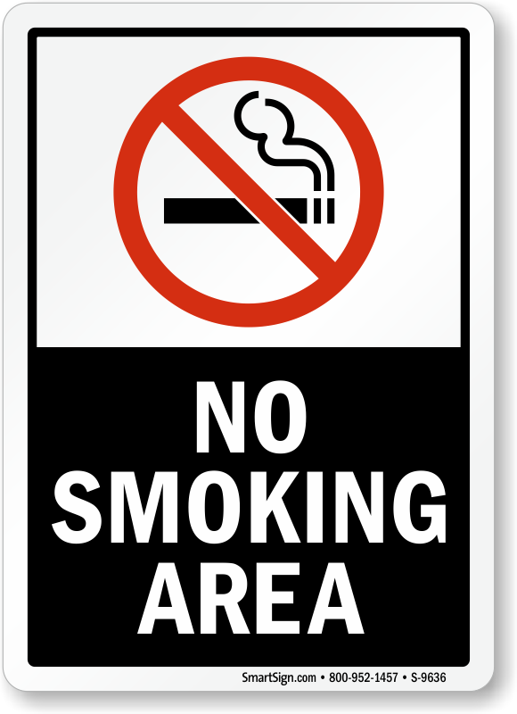 No Smoking Labels No Smoking Area Sku S 9636