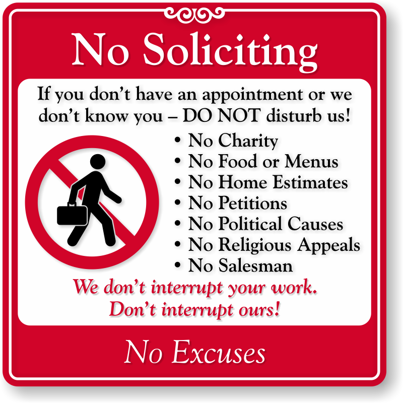 No soliciting signs no soliciting decals - Funny soliciting signs ...