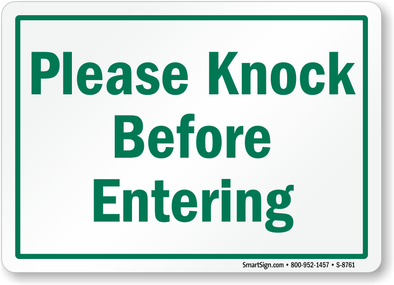 Please Knock Before Entering Sign Sku S 8761 Pictures