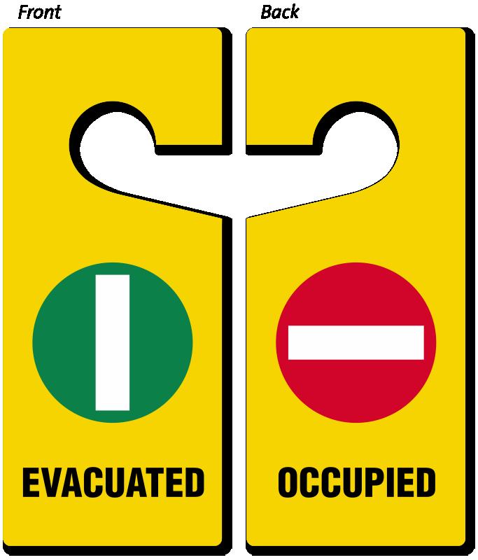 Evacuated Occupied Door Hanger Two Sided Door Hang