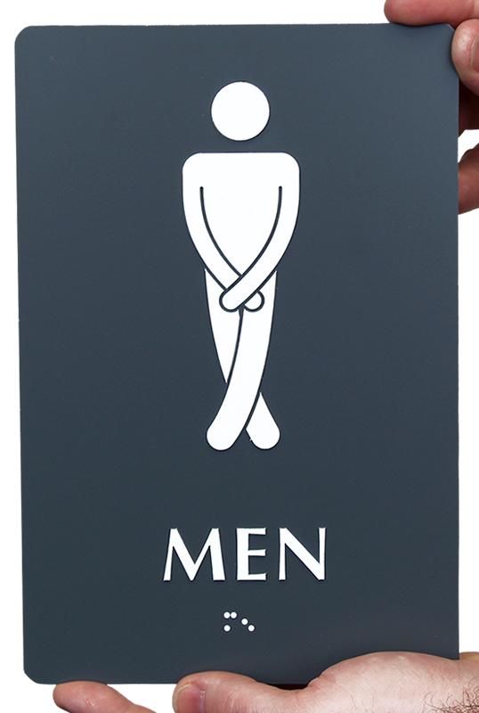 Men With Cross Legs Funny Restroom Braille Sign SKU SE 2026