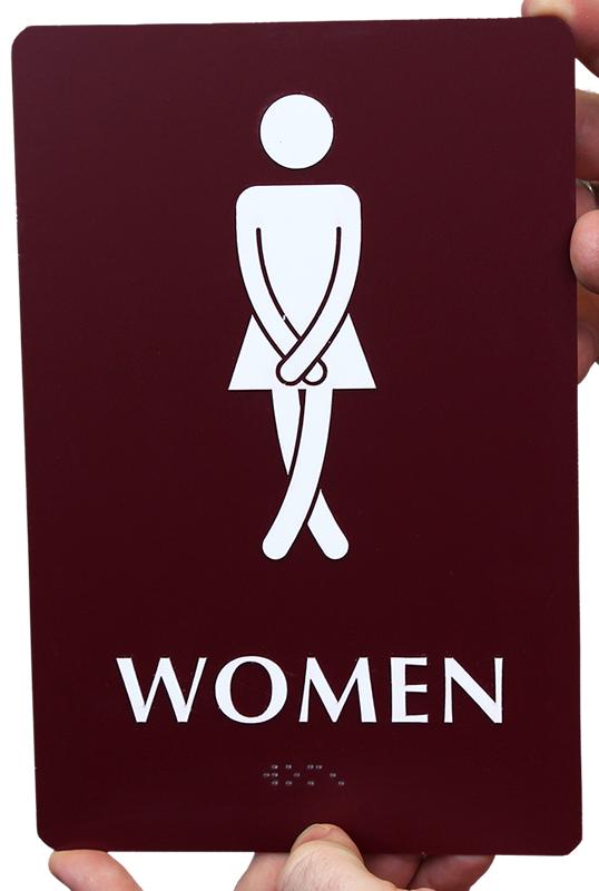 Cross-Legs Women's Bathroom Funny Sign, SKU
