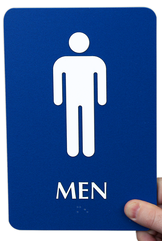 Braille Men Restroom Sign With Graphics And Border SKU