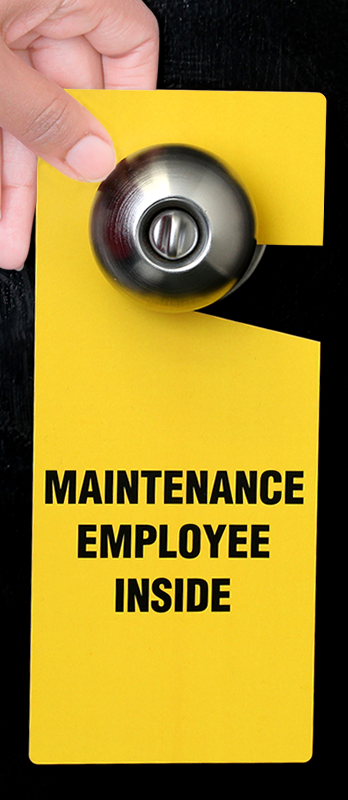 Maintenance Employee Inside Plastic Door Knob Hang Tag