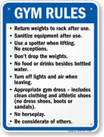 Gym Rules Fitness Center Sign Quick Delivery Sku S2 0045