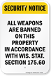 Weapons Banned On This Property Sign