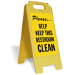 Please Help Keep This Room Clean Free-Standing Sign