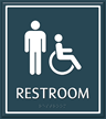 Male Restroom Door Sign with Handicap Symbol