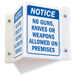 No Guns, Knives Or Weapons Allowed Sign