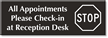 All Appointments Check-In At Reception Desk Engraved Sign