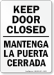 Bilingual Keep Door Closed Sign