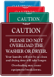 Caution. Please Do Not Overload Washer Sign