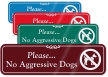 No Aggressive Dogs ShowCase Wall Sign
