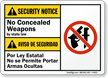 No Concealed Weapons by State Law Bilingual Sign