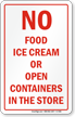 No Food Ice Cream In The Store Decal