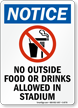 No Outside Food Or Drinks In Stadium Sign
