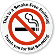 Smoke-Free Building, Thank you Window Decal