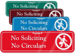 No Soliciting No Circulars Engraved Sign