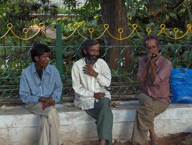 Men smoking in India.