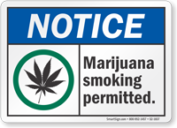 Notice Marijuana Smoking Permitted