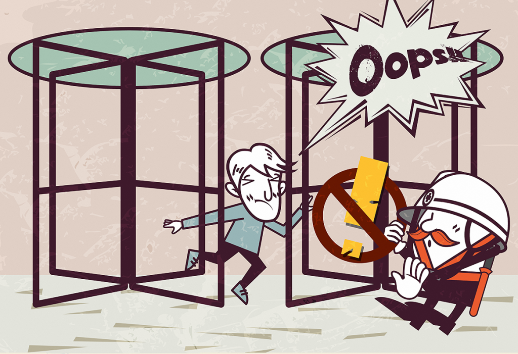 Revolving doors are the cause of a surprising number of injuries.