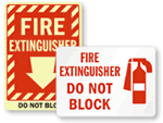 Do Not Block Fire Extinguisher Signs