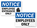 Employee Entrance Signs