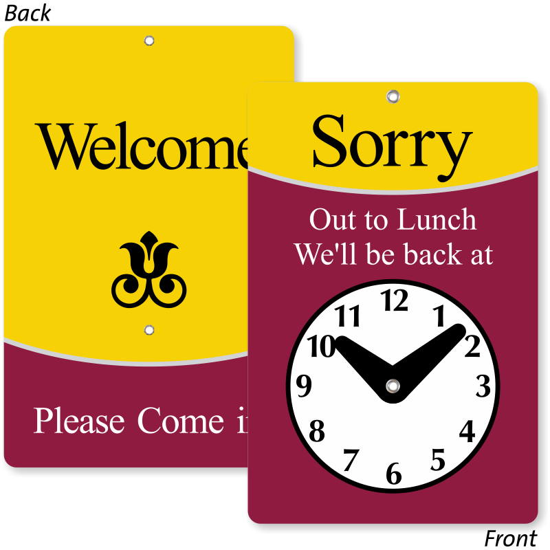photo relating to Will Return Sign Printable titled Clock Indicators Will Return Signs or symptoms