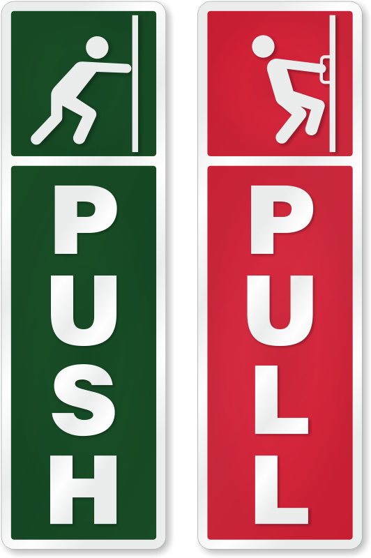 Pull or Automatic Door Sticker Green Push