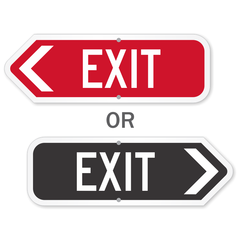 photo relating to Escape Room Signs Printable known as Directional Exit Signs and symptoms With Arrows