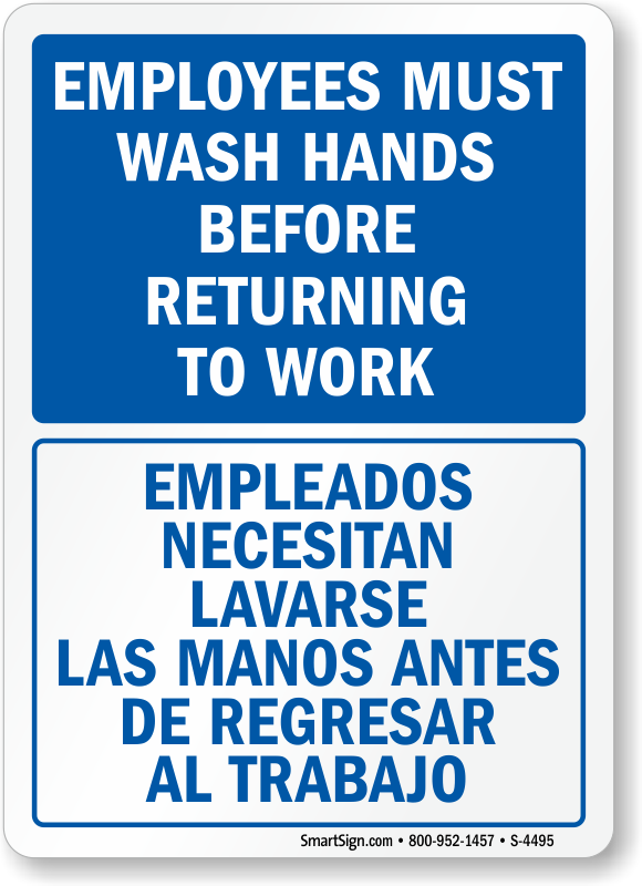 graphic relating to Employees Must Wash Hands Sign Printable titled Bilingual Workers Clean Palms In advance of Returning In the direction of Get the job done Indication