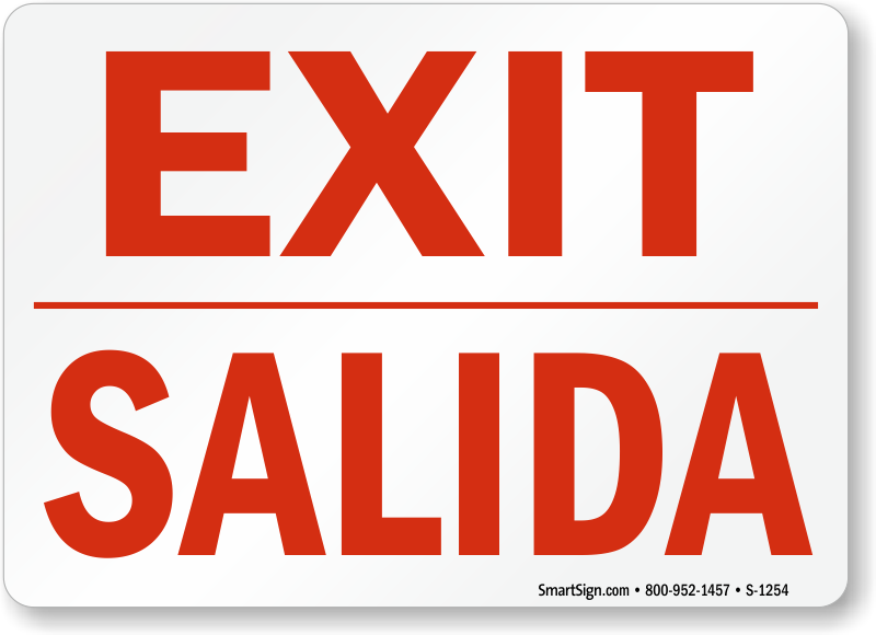 graphic regarding Printable Exit Signs called Bilingual Not An Exit Indicators