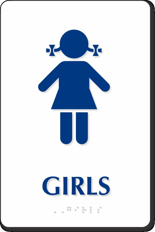 Girls Nursery School Restroom Braille Sign Blue On White Sku Se 1814