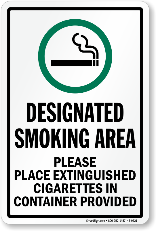 Designated Smoking Area Place Cigarettes In Container Sign Sku S 9721,Nursing School T Shirt Designs