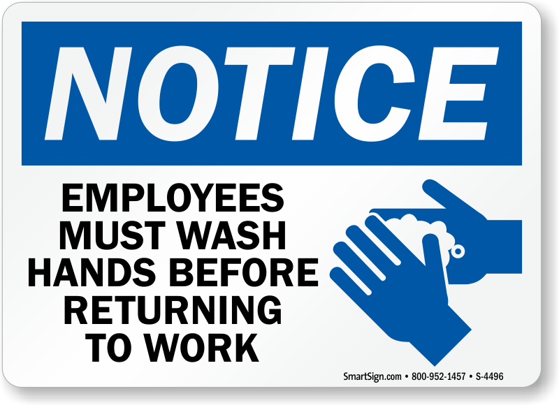 photo regarding Wash Hands Sign Printable identified as Interest Workforce Clean Palms In advance of Returning In the direction of Operate Indicator