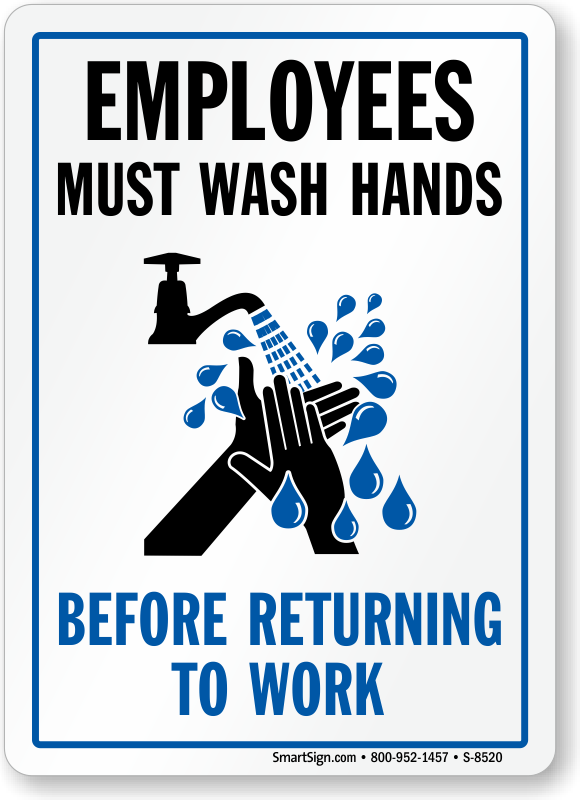 picture about Employees Must Wash Hands Sign Printable referred to as Workers Need to Clean Palms Just before Returning In the direction of Get the job done Signal, SKU